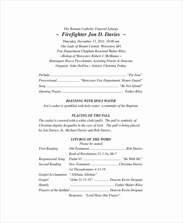 Catholic Wedding Mass Program Template Elegant Sample Catholic Funeral Program 12 Documents In Pdf