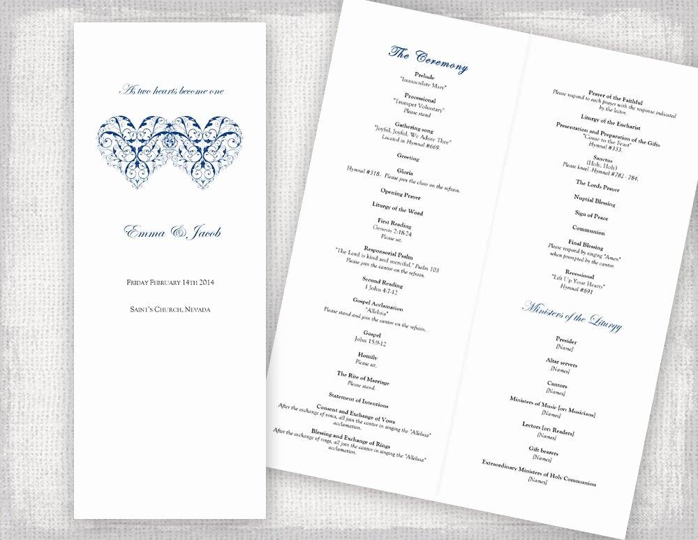 Catholic Wedding Program Templates Free Awesome Catholic Wedding Program Template Printable Ceremony Program
