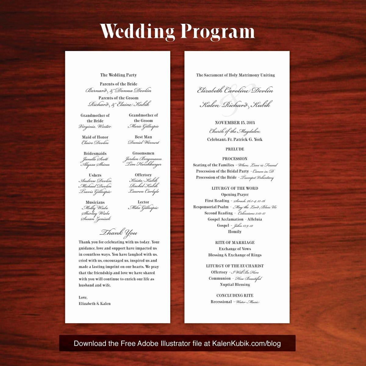 Catholic Wedding Program Templates Free Elegant Free Diy Catholic Wedding Program Ai Template I M A