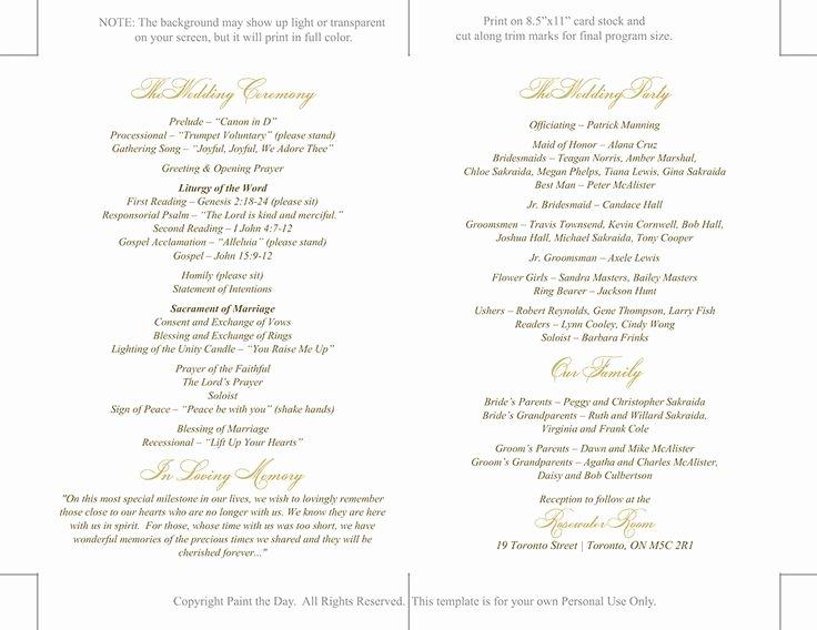 Catholic Wedding Program Templates Free Fresh Catholic Wedding Program Template Printable by