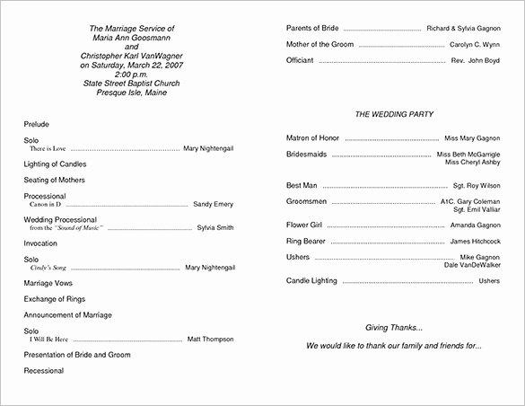 Catholic Wedding Program Templates Free Fresh Wedding Ceremony Program Template 36 Word Pdf Psd