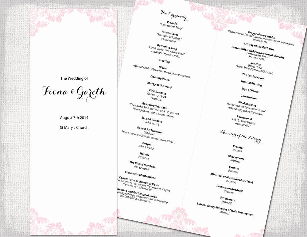Catholic Wedding Program Templates Free Luxury Catholic Wedding Program Template Powder Pink Antique