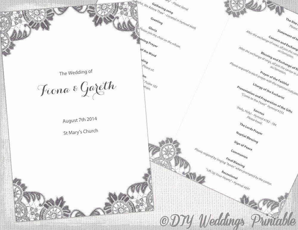 Catholic Wedding Program Templates Free Luxury Diy Catholic Wedding Program Template Charcoal Gray