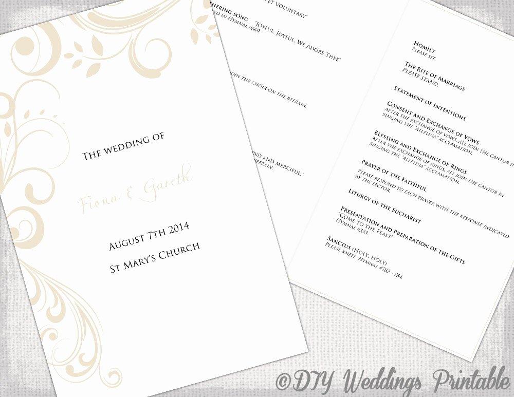 Catholic Wedding Program Templates Free Unique Catholic Wedding Program Template by Diyweddingsprintable