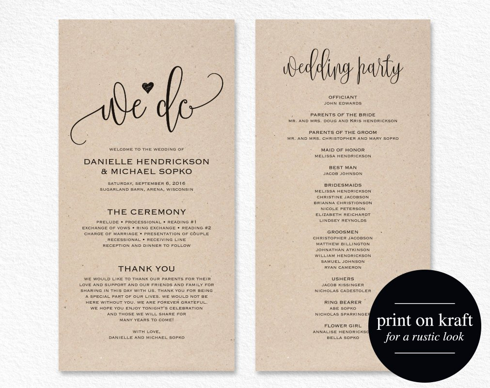 Catholic Wedding Program Templates Free Unique Wedding Program Template Wedding Program Printable We Do