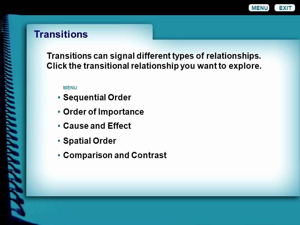 Cause and Effect Transitions Best Of Menu Exit Transitions In Writing A Transition is the