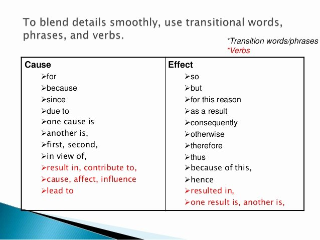 Cause and Effect Transitions Lovely Cause and Effect Paragraph