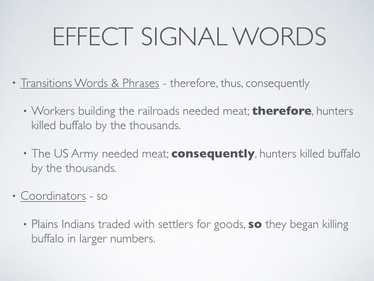 Cause and Effect Transitions Luxury Cause Effect Signal Words