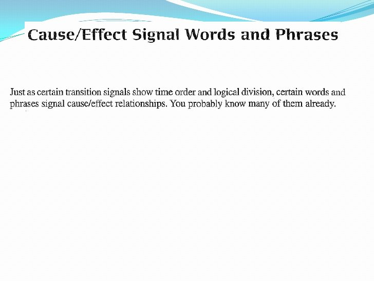 Cause and Effect Transitions Luxury Cause Effect Signalwords Phrases