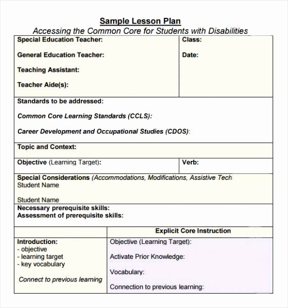 Ccss Lesson Plan Templates Awesome Ccss Lesson Plan Template Doc