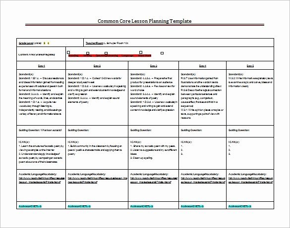 Ccss Lesson Plan Templates Elegant 8 Lesson Plan Templates – Free Sample Example format