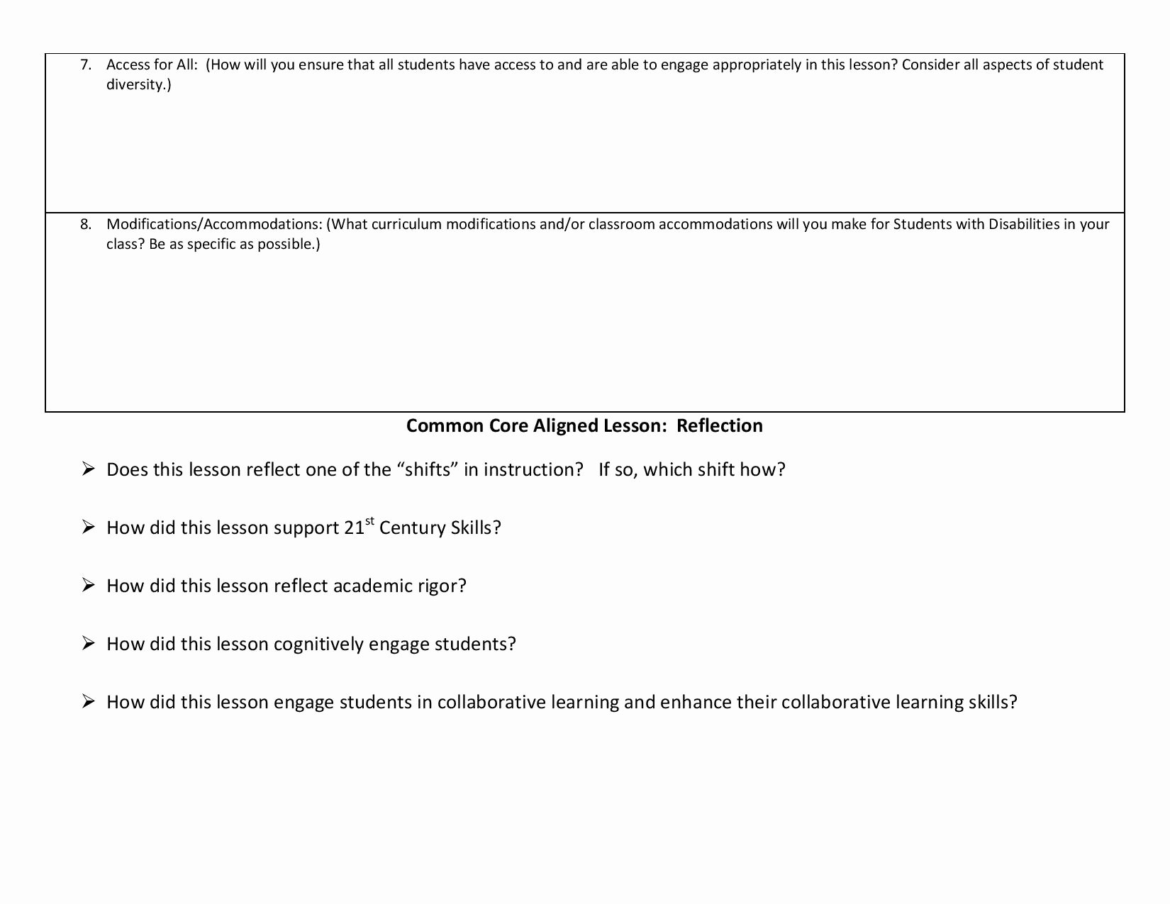 Ccss Lesson Plan Templates Fresh Lesson Planning Templates Ccss