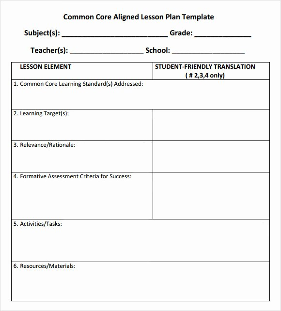 Ccss Lesson Plan Templates Inspirational 7 Sample Mon Core Lesson Plan Templates to Download