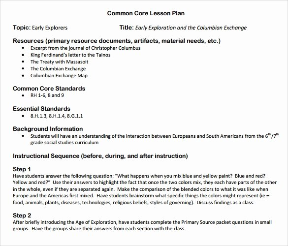 Ccss Lesson Plan Templates New 9 Mon Core Lesson Plan Samples