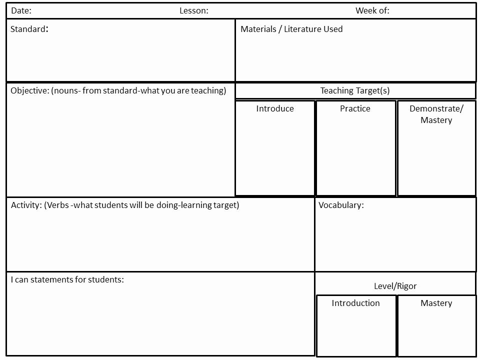 Ccss Lesson Plan Templates New Cultivating Concepts Mon Core Planning In Word