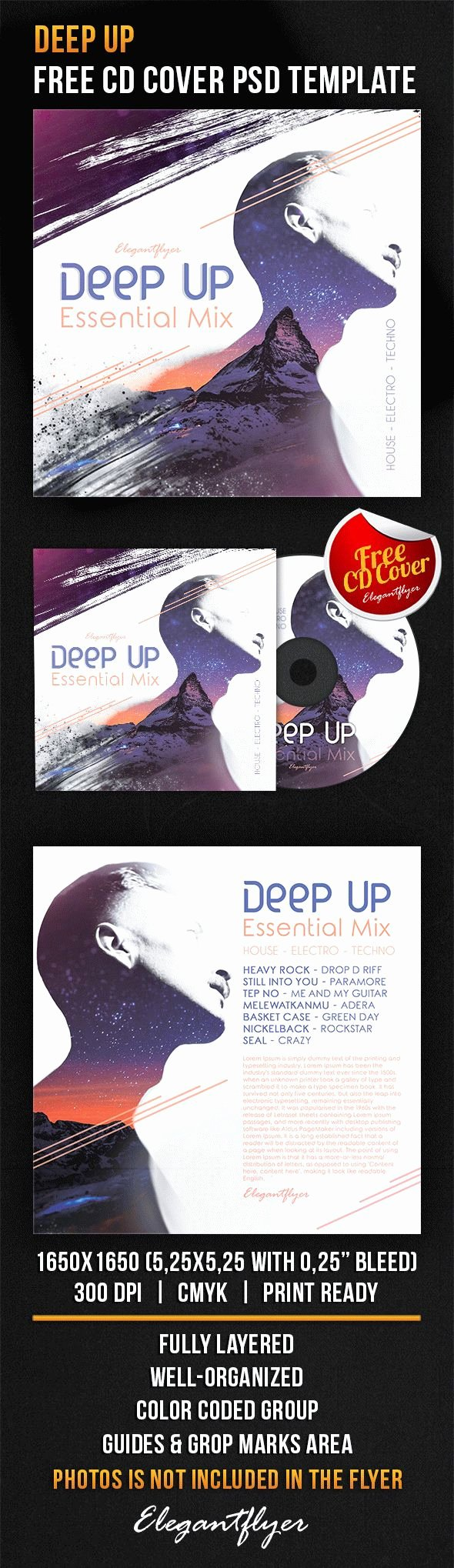 Cd Cover Template Psd Best Of Deep Up – Free Cd Cover Psd Template – by Elegantflyer