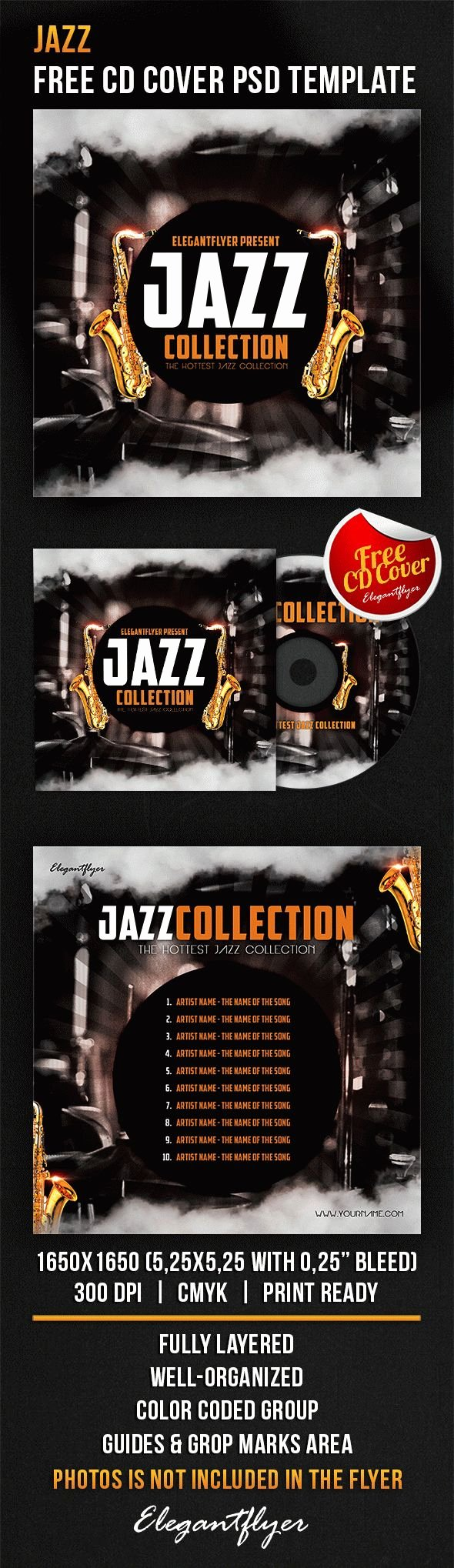 Cd Cover Template Psd Elegant Jazz – Free Cd Cover Psd Template – by Elegantflyer