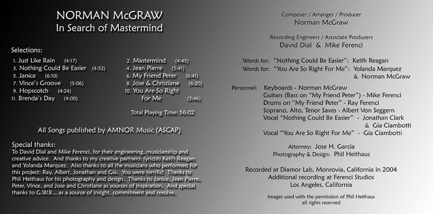 Cd Liner Notes Template Fresh Liner Notes for Mastermind norman Mcgraw S 2nd Cd
