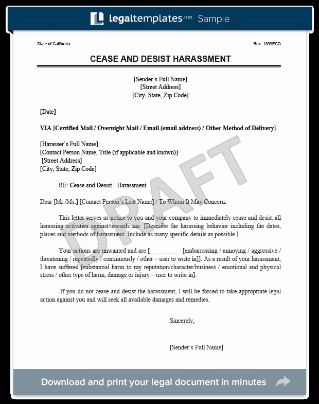 Cease and Desist order Template Lovely Cease and Desist Letter C&d