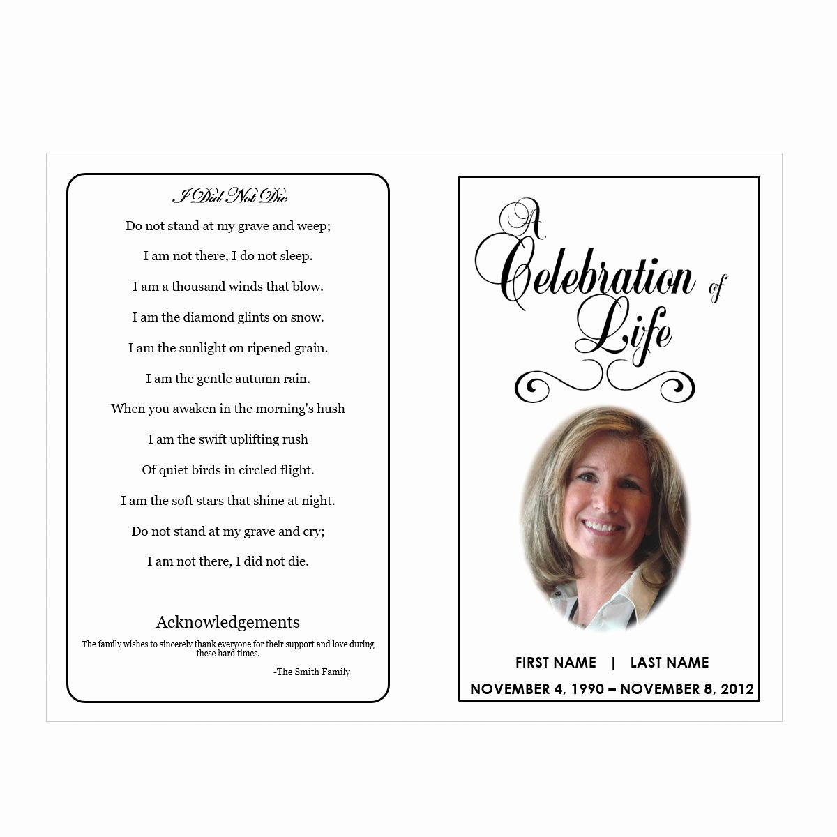 Celebration Of Life Program Template Beautiful Celebration Of Life Funeral Pamphlets