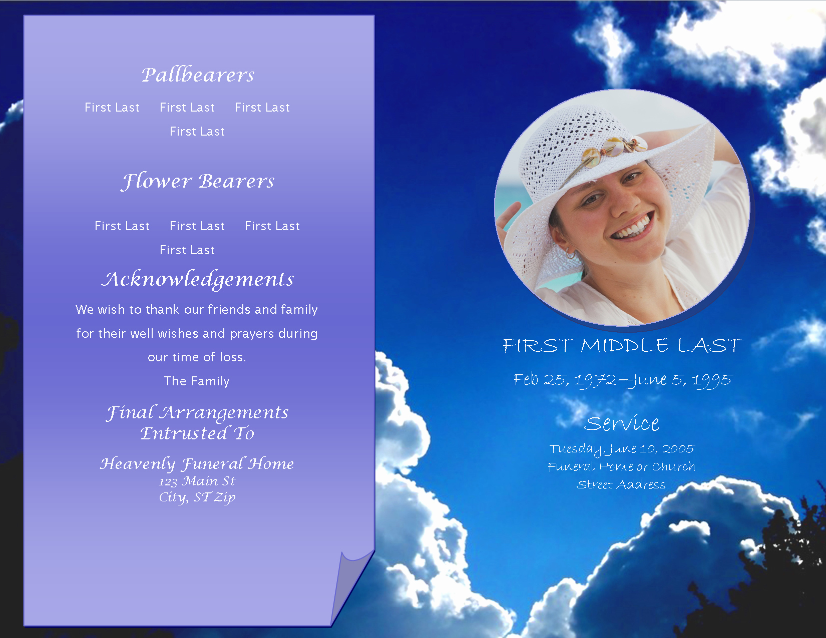 Celebration Of Life Program Template Beautiful Lifecycleprints Celebration Of Life & Funeral Program