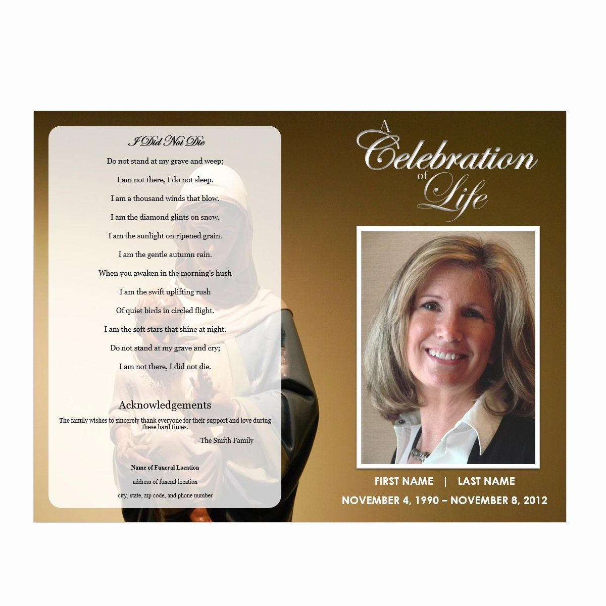 Celebration Of Life Program Template Best Of Virgin Mary Funeral Program Funeral Pamphlets
