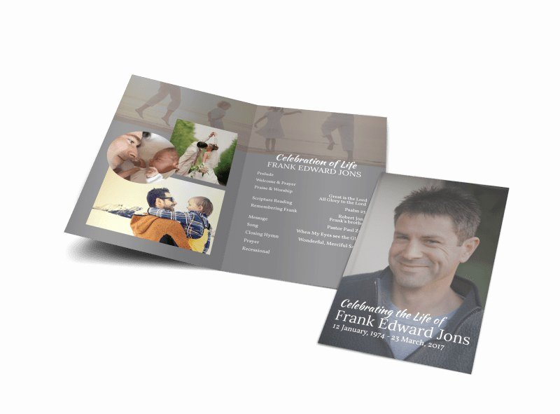 Celebration Of Life Program Template Elegant Celebration Life Bi Fold Brochure Template
