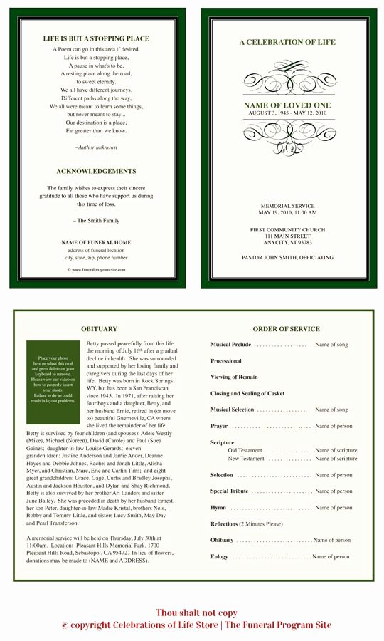 Celebration Of Life Program Template New 1000 Images About Funeral Program Examples On Pinterest
