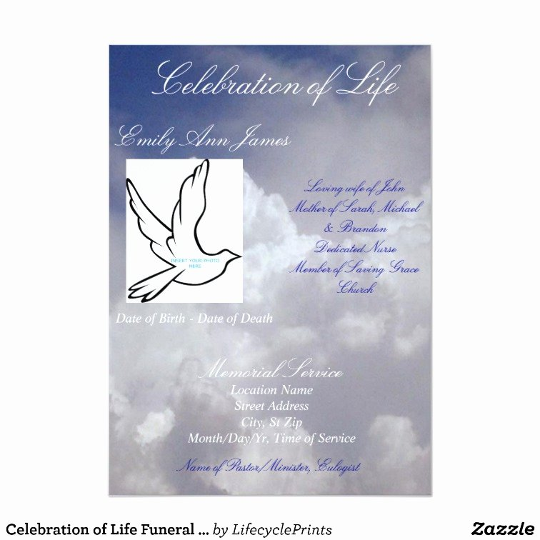 Celebration Of Life Program Template New Celebration Of Life Funeral Invitation Program Card