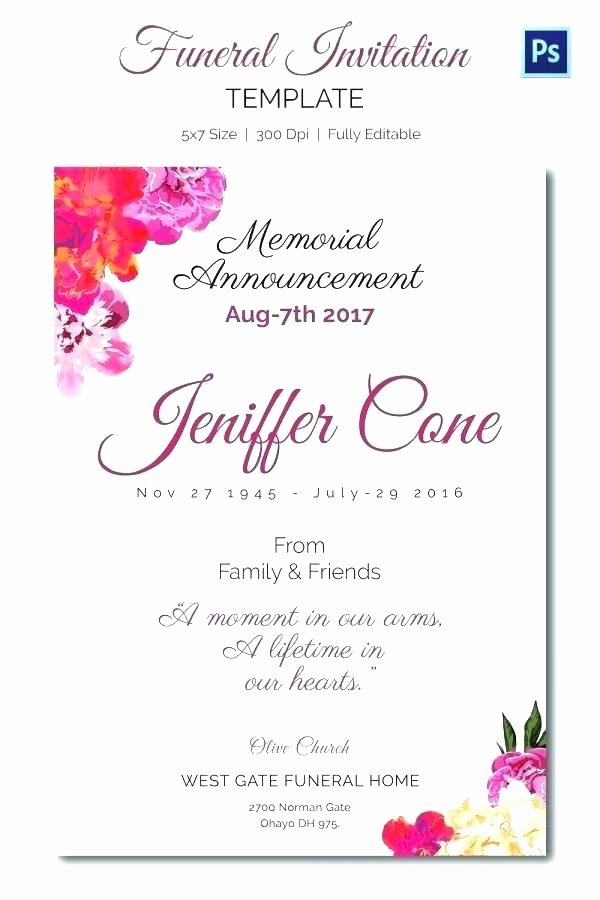 Celebration Of Life Template Free Elegant Funeral Invitation Template Cards Announcement Free