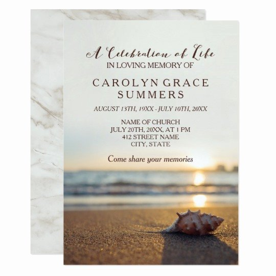 Celebration Of Life Template Free Inspirational Conch On Beach Celebration Of Life Card