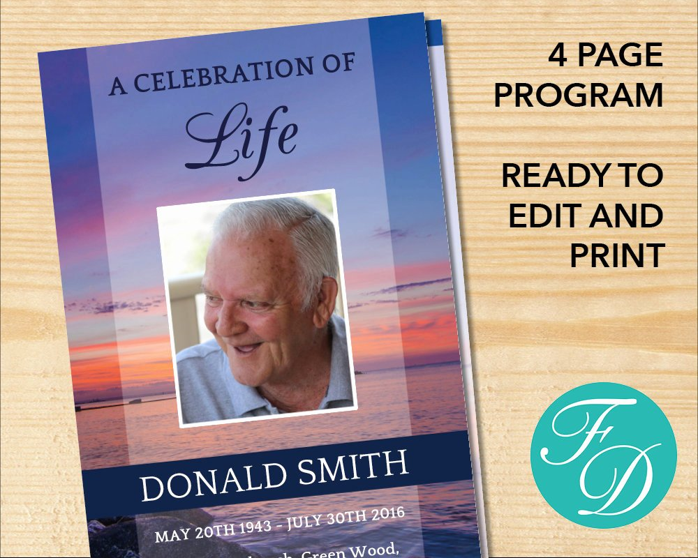 Celebration Of Life Template Free Lovely Celebration Of Life Printable Funeral Program Template