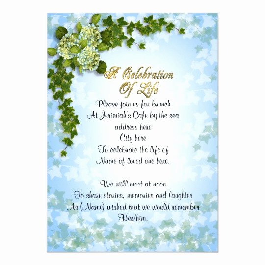 Celebration Of Life Template Free New Celebration Of Life Invitation Ivy and Flowers