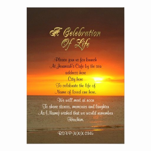 Celebration Of Life Template Free Unique Celebration Of Life Invitation Sunset