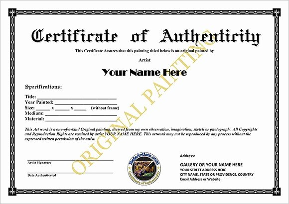Certificate Of Authenticity Template Beautiful 6 Certificate Authenticity Templates Website