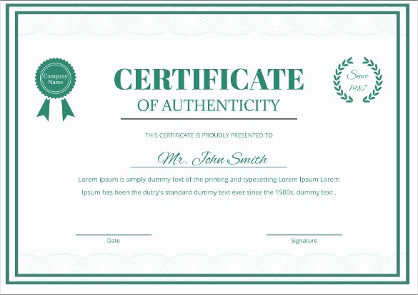 Certificate Of Authenticity Template Beautiful Certificate Templates