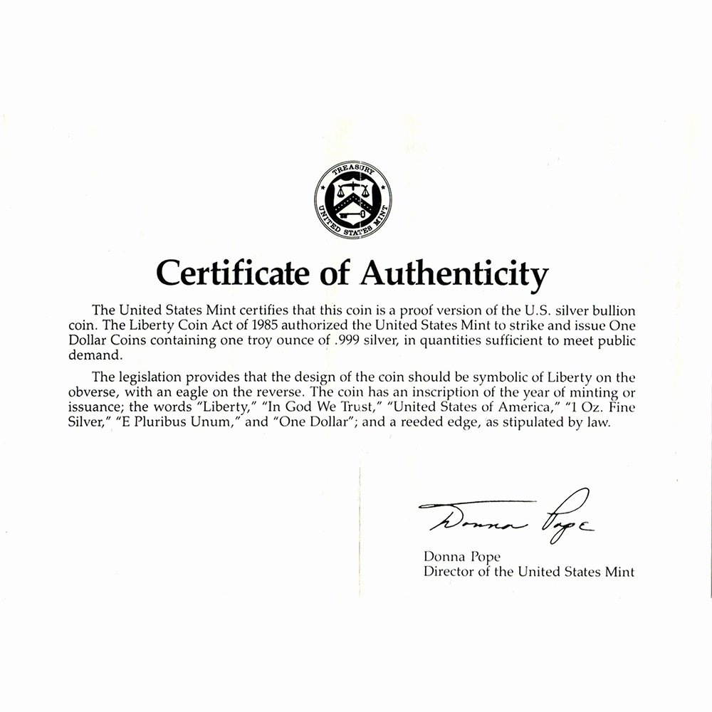 Certificate Of Authenticity Template Best Of 1989 S American Silver Eagle Proof