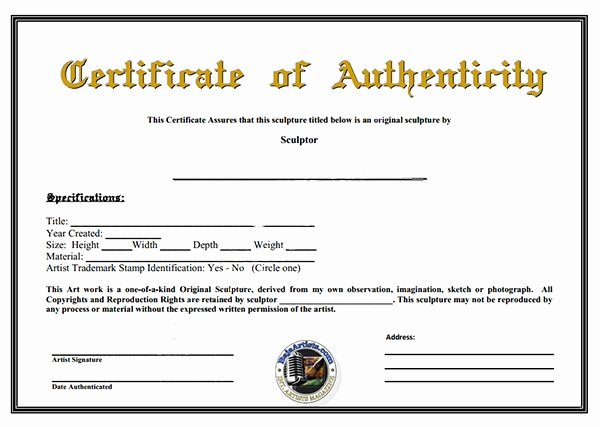 Certificate Of Authenticity Template Best Of Certificate Authenticity Template