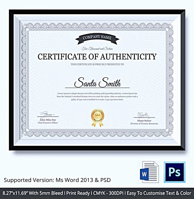 Certificate Of Authenticity Template Best Of Certificate Of Authenticity Template What Information to