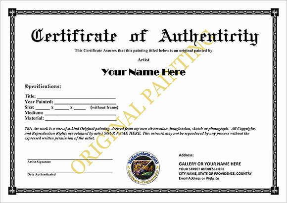 Certificate Of Authenticity Template Elegant 16 Certificate Of Authenticity Samples