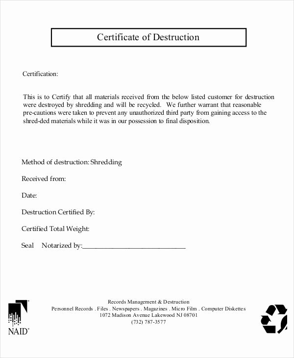Certificate Of Data Destruction Template Inspirational Certificate Destruction Template Word Free Templates In