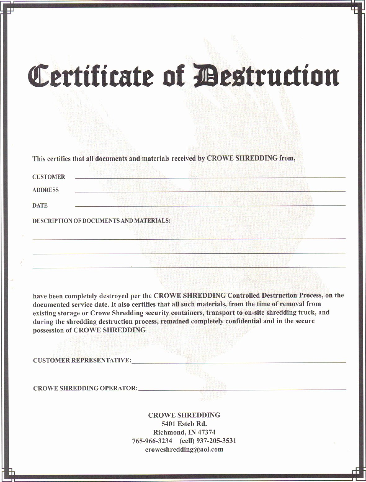 Certificate Of Data Destruction Template Inspirational Certificate Of Destruction 2011 Crowe Shredding
