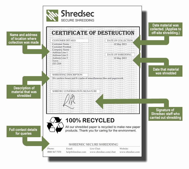 Certificate Of Data Destruction Template New Shredsec Certificate Of Destruction