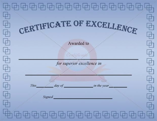 Certificate Of Excellence Template Best Of Excellence Certificate Blue Template