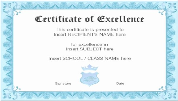 Certificate Of Excellence Template Best Of Excellence Certificate Template 22 Word Pdf Psd