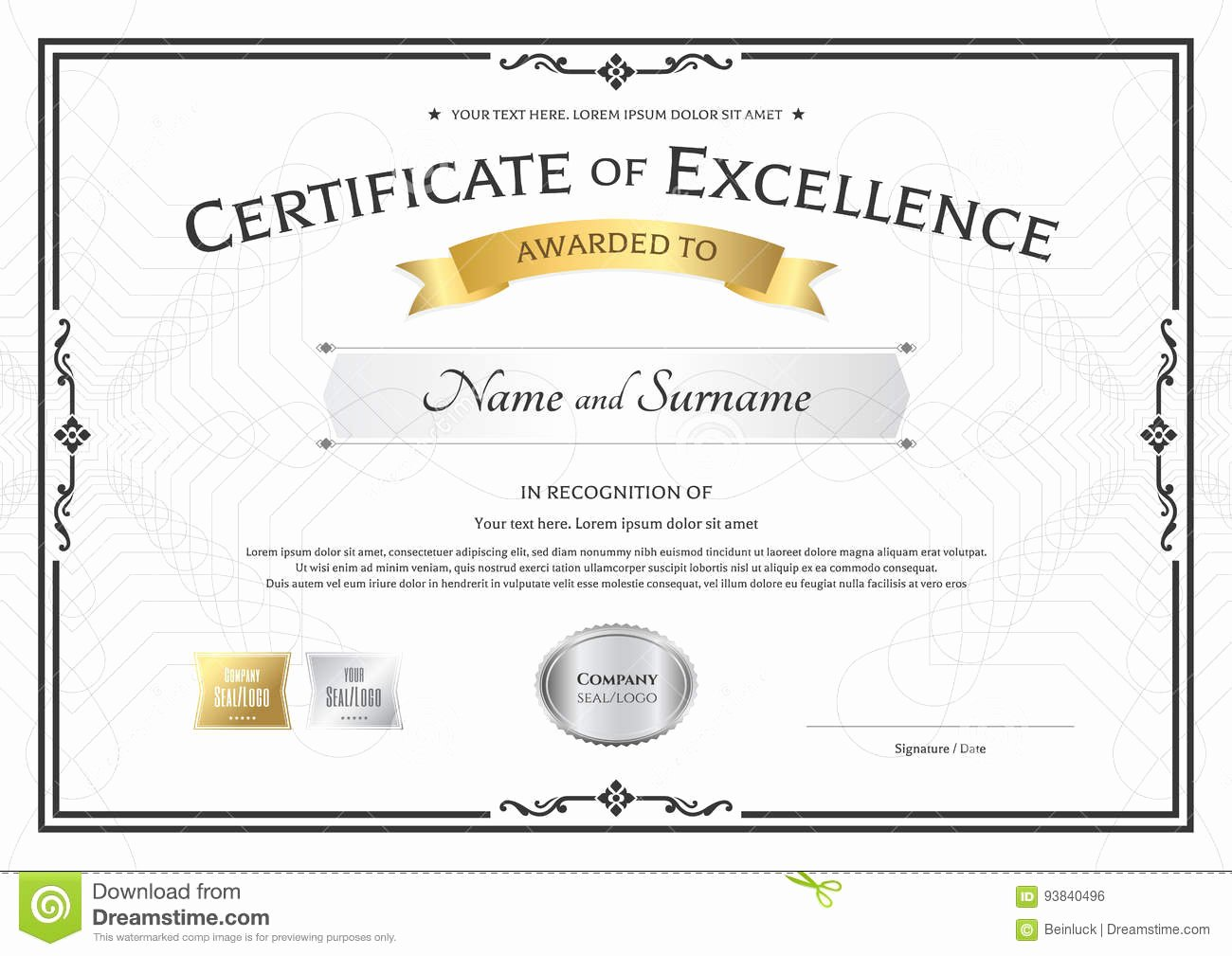 Certificate Of Excellence Template Elegant Certificate Excellence Template with Gold Award Ribbon
