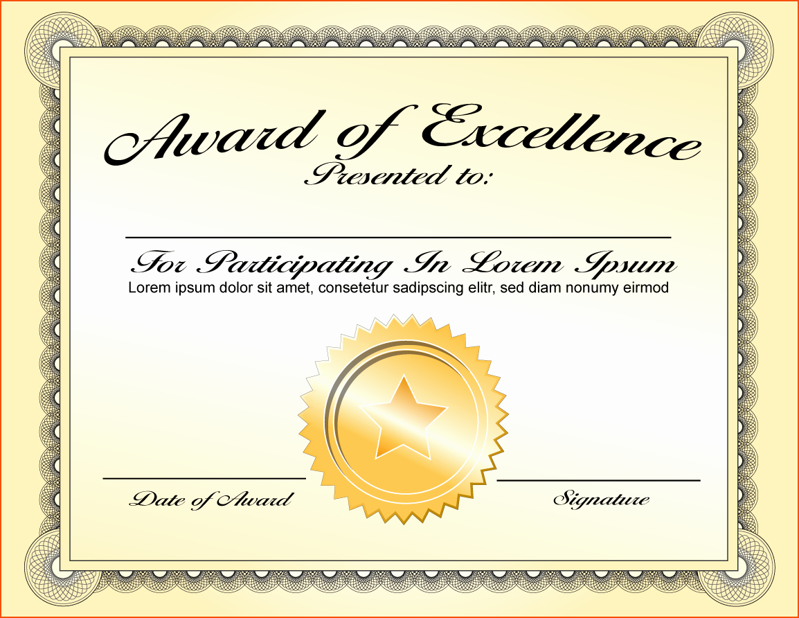 Certificate Of Excellence Template Lovely 8 Awards Certificate Template Bookletemplate