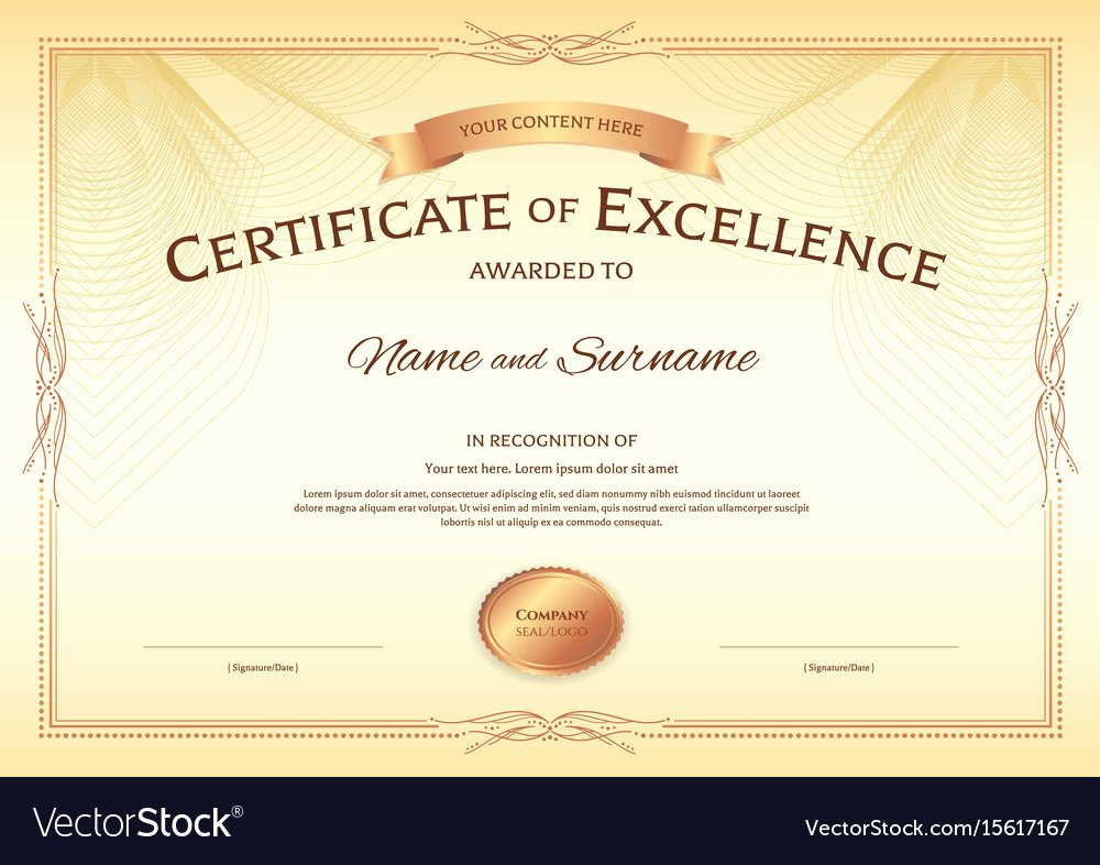Certificate Of Excellence Template Lovely Certificate Of Excellence Template with Award Vector Image