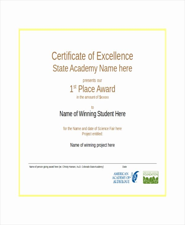 Certificate Of Excellence Template Lovely Excellence Certificate Template 22 Word Pdf Psd