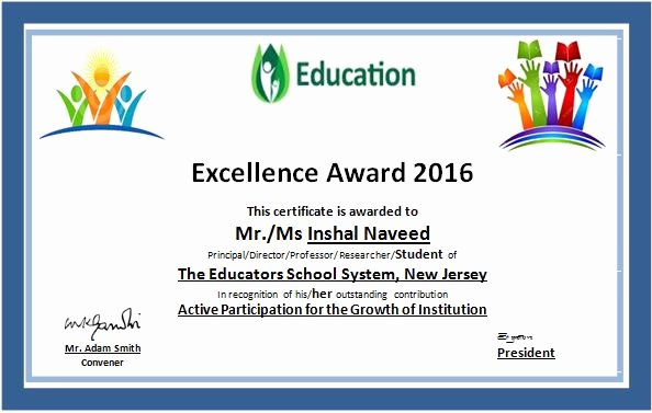 Certificate Of Excellence Template Lovely Ms Word Education Excellence Award Certificate Template